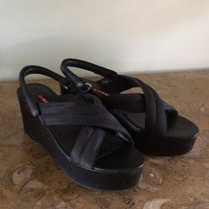 387ab280da8c Prada Shoes - Prada Grosgrain Criss Cross Crossover Wedge Heel